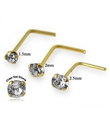 9ct Gold 'L' Shape Claw Set CZ Gem Nose Stud / Hook