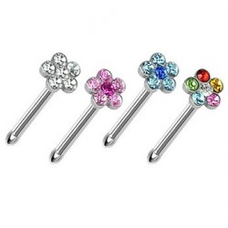 Surgical Steel Multi Gem Flower Nose Stud / Pin