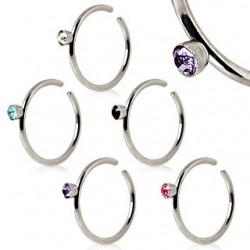 Surgical Steel Nose Ring / Hoop With 2mm Coloured Gem
