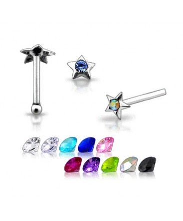 925 Sterling Silver Star Design With Coloured Gem Nose Stud / Pin