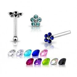 925 Sterling Silver Flower Design With Coloured Gems Nose Stud / Pin