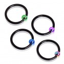 Black Anodised Colour Plated Ball Captive Bead Ring BCR