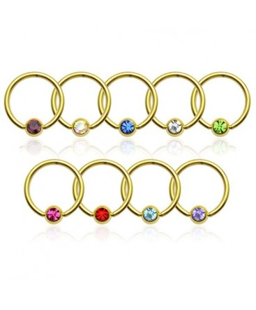 14ct Gold Plated Captive Bead Ring BCR with Coloured Gem