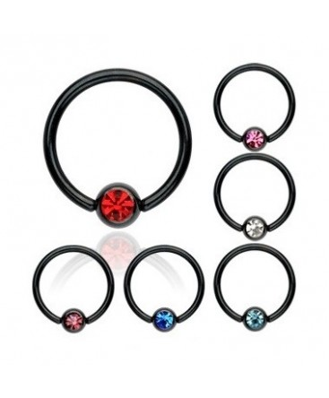 Black Anodised BCR Captive Bead Ring / Navel Bar with Coloured Gem