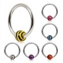 Surgical Steel Captive Bead Ring with Zebra Tiger Stripe Ball