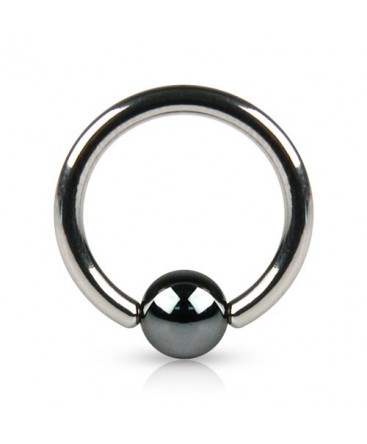 Surgical Steel Captive Bead Ring BCR with Hematite Ball
