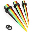 Acrylic Rasta Style Stripe Ear Taper / Stretcher