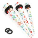 Acrylic Multi Colour Funky Star Print Ear Taper / Stretcher