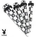 Acrylic Playboy Bunny Chessboard Black & White Ear Taper / Stretcher