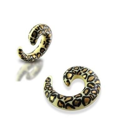 Acrylic Leopard / Cheetah Print Spiral Ear Taper / Stretcher