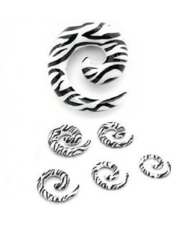 Acrylic Black & White Zebra Print Spiral Ear Taper / Stretcher