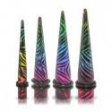 Acrylic Rainbow Zebra Print Ear Taper / Stretcher
