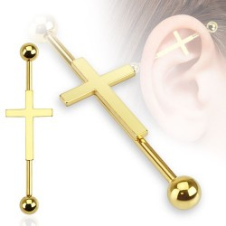 Surgical Steel Gold Cross / Crucifix Scaffold / Industrial Barbell