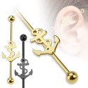 Surgical Steel Black / Gold Sailor Ship / Anchor Industrial / Scaffold Barbell