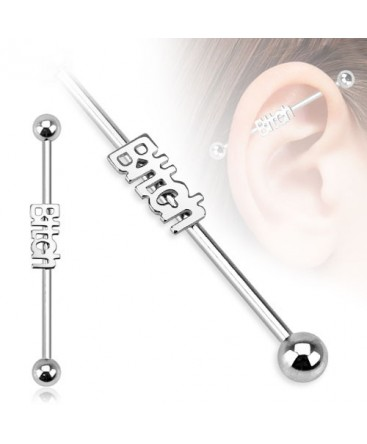 Surgical Steel Bitch Logo Industrial / Scaffold Barbell