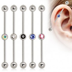 Surgical Steel Industrial Scaffold Barbell with Colour Gem Ball