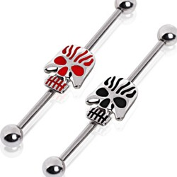 Surgical Steel Red / Black Skull Scaffold / Industrial Barbell
