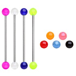 Surgical Steel Scaffold / Industrial Barbell with Colour Acrylic Balls
