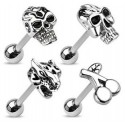 Surgical Steel Skull / Tiger / Cherries Logo Tongue Bar