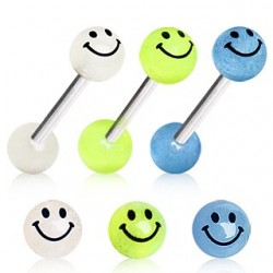Surgical Steel Tongue Bar with Acrylic Smiley Face Glow in the Dark Ball