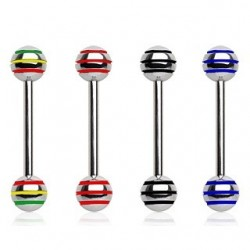 Surgical Steel Coloured Stripe Ball Tongue Bar