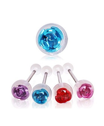 Surgical Steel Embedded Coloured Rose Tongue Bar