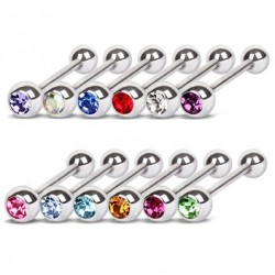 Surgical Steel Tongue Bar with Choice of Coloured Gem
