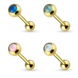 Gold Plated over Surgical Steel Tongue Bar Stud with Opal Ball