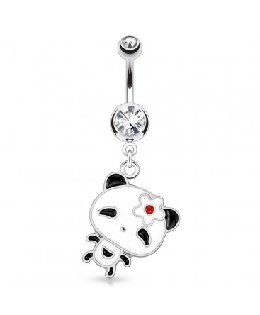 Surgical Steel Happy Panda Drop / Dangle Belly / Navel Bar with Clear Gem