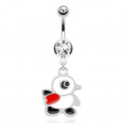 Surgical Steel Penguin Drop / Dangle Belly / Navel Bar with Clear Gem