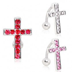 Surgical Steel Reverse Gem Cross / Crucifix Belly / Navel Bar
