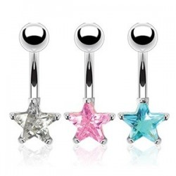 Surgical Steel CZ Star Gem Belly / Navel Bar