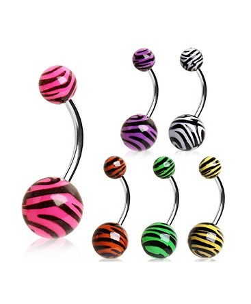 Surgical Steel Tiger / Zebra Stripe Print Belly / Navel Bar