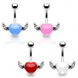 Surgical Steel Love Heart Wings Belly / Navel Bar