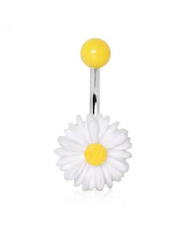 Surgical Steel White & Yellow Daisy Flower Belly / Navel Bar