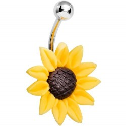 Surgical Steel Yellow Flower / Sunflower Belly / Navel Bar
