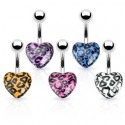 Surgical Steel Leopard Print Acrylic Heart Shaped Belly / Navel Bar