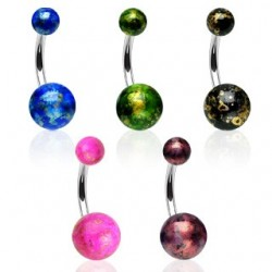 Surgical Steel Fossil Splatter Ball Belly / Navel Bar