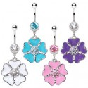 Surgical Steel Cosmo CZ Middle Flower Belly / Navel Bar