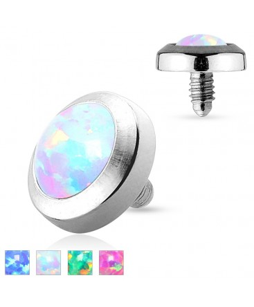 Surgical Steel Opal Stone Dermal Anchor Head