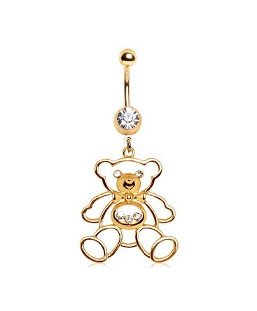 Gold Plated Over Surgical Steel CZ Gem Dangle Teddy Bear Belly / Navel Bar