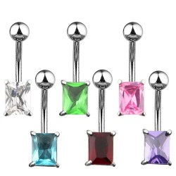 Surgical Steel Rectangle CZ Gem Belly / Navel Bar