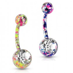 Surgical Steel Paint Splash Splatter Belly / Navel Bar with Clear CZ Gem