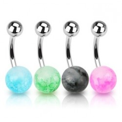 Surgical Steel Dazzle Marble Ball Belly / Navel Bar
