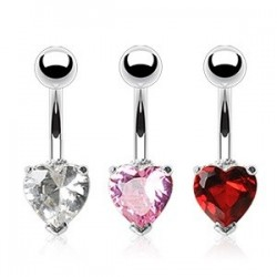 Pack of 3 Surgical Steel Heart Gem Belly / Navel Bars Pink / Clear / Red