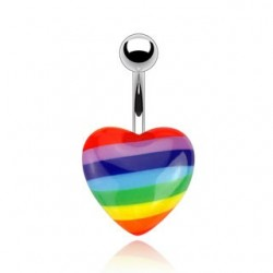 Surgical Steel Rainbow Acrylic Heart Belly / Navel Bar