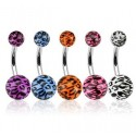 Surgical Steel Leopard Print Acrylic Ball Belly / Navel Bar