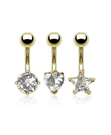 Gold Plated Belly / Navel Bar with CZ Heart / Circle / Star Gem