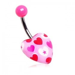 Surgical Steel Pink Heart Print Design Belly / Navel Bar