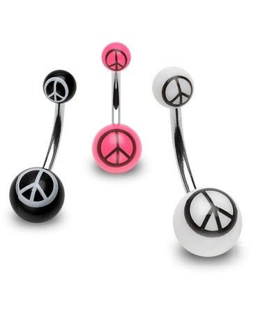 Surgical Steel Belly / Navel Bar with Acrylic Peace Sign Logo